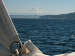 Mt Rainier - reefed mainsail east of Vashon Island